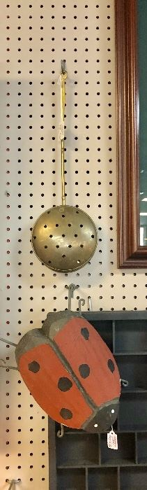 Antique Brass Bed Warmer and Handmade Solid Wooden Large Lady Bug