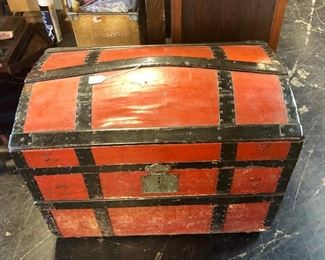 Antique wooden red trunk