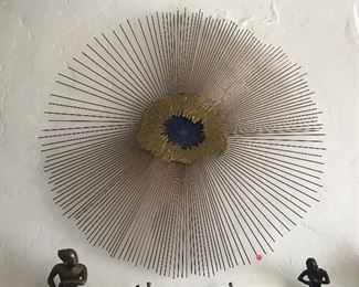 Vtg enamel sunburst sculpture, unsigned.