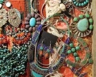 Bohemian jewelry from Tibet with genuine stones and made from silver mixed with a little brass to retard tarnishing. All 50% off!
