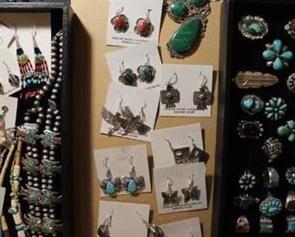 Vintage to newer authentic Native American jewelry with sterling silver and genuine stones, all 50% off!