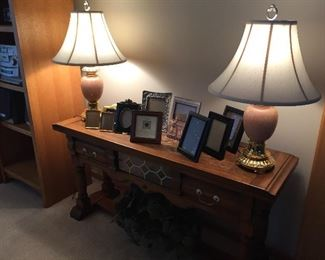 Table lamps, sofa table, frames
