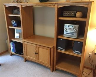 4 piece media center with bookcases & storage