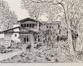 Notecard illustration by Pasadena artist Lynn Van Dam Cooper