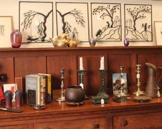 Pair of Van Briggle vases, art glass, Dirk Van Erp bowl, Hector Aguilar ewer, 1920s Chinese metal silhouette scene panels