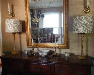 Dining room Sideboard and mirror/ lighting.