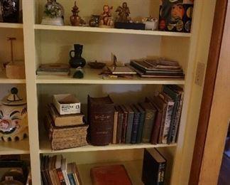 books, knick knacks, Hummel West Germany, porcelain flowers, music boxes, child costume