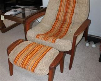 MCM Danish modern arm chair by and ottoman by R. Huber & Co.