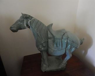 Marble stone carved horse... green marble,