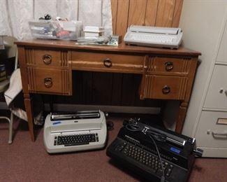 Several typewriters.