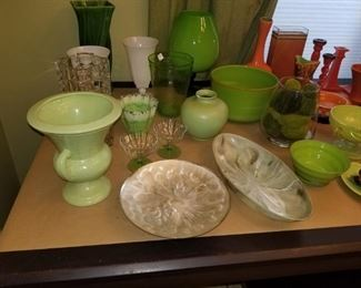 Green vases, bowls and decorative items. Crystal vase