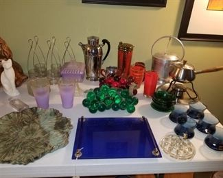 Cocktail shakers, acrylic grapes (green is sold, but red ones area available), Evening in Paris vanity tray, fondue pot.