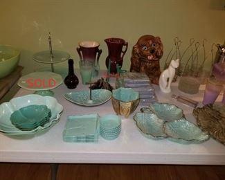 McCoy vase, Dog cookie jar, vintage green plastic and ceramic items
