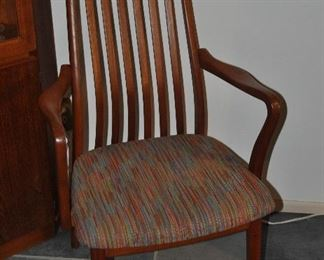 Teak slatted armed dining chair with colorful fabric cushion,
