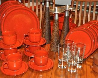 Gorgeous mid-century West Germany Ceramano stoneware service for 6. Includes dinner plates, salad/dessert plates, bowls, cups/saucers, serving bowl. Also shown with a set of 3 wood/stainless pillar candlesticks.