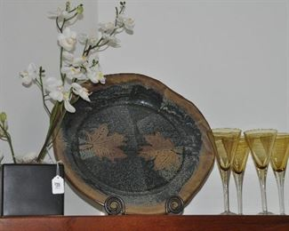 "Great home decor including a 15"" ceramic dish by Mitchell Short."