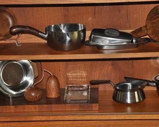 Great assortment of  Danish stainless and teak serving accessories!