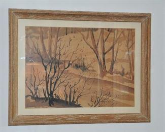 "Framed art by Z. Sepesky, 27"" x 31"""