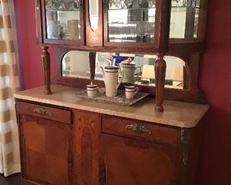 Antique French marble top breakfront