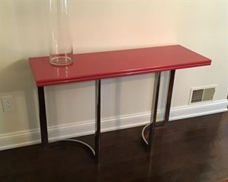 Lacquer and chrome modern console table,  opens to larger