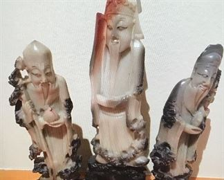 Antique Chinese soapstone 3 wise men