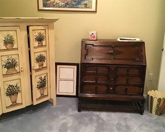 Paint decorated armoire, antique oak fall front desk