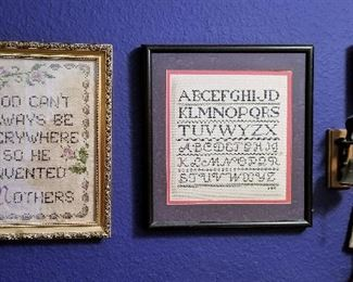 Lots of antique and vintage needlework samplers. Alphabet samplers and sayings.