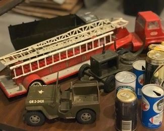Antique toys (firetruck, jeep, dump truck, farm equipment and cans)