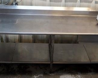 "Stainless Steel Prep Table with Backsplash, Single Drawer and Lower Storage 40"" x 116"" x 30"""