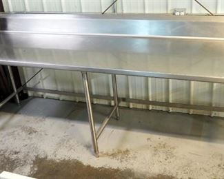 "Stainless Steel Prep Table with Backsplash 46"" x 109"" x 32"""