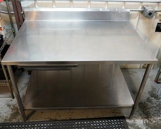 "Stainless Steel Prep Table with Backsplash, Drawer and Lower Storage Shelf, 41"" x 54"" x 38"""