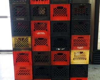 Plastic Milk Crate Assortment, Qty Approximately 150