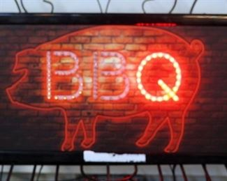 "Electric BBQ Sign with Pig, 10"" x 19"", Powers On"