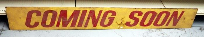 "Vintage Cardboard ""Coming Soon"" Sign 1'H x 8'L"