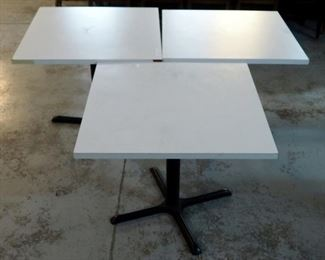 "Formica Topped Pedestal Restaurant Tables, 29.5""H x 34""W x 34""D, Qty 3"