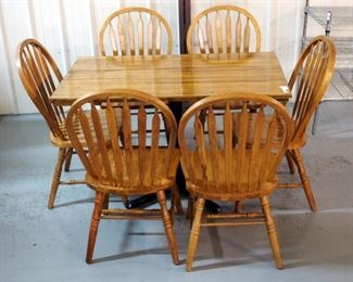"Wood Pedestal Dining Table 30""H x 48""W x 29""D with 6 Arched Slat Back Dining Chairs 37""H"