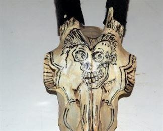 Hand-Painted Goat Skull