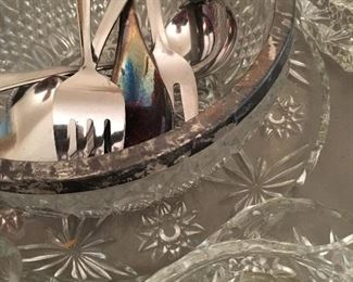 Many Cut Glass Serving Pieces...