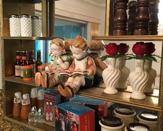 This Is A Super Cute Vintage Wall Shelf...Filled With Salt'n Peppa Shakers!...
