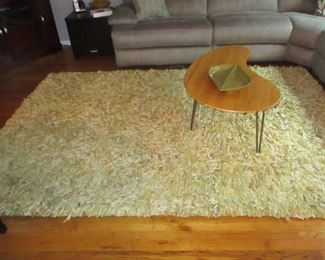 Mid-Century Modern Walnut Kidney Shaped Table Shaggy Rugs