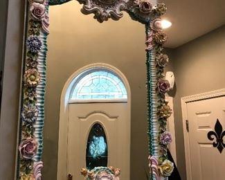 #103                 Venetian Hand porcelain Mirror.