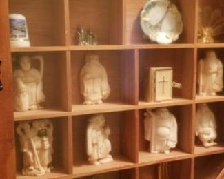 Small curio cabinet and treasures, sold seperately