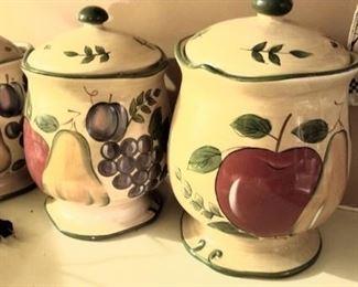 Colorful kitchen jars
