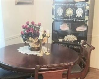 Duncan round dining room set and Asian china hutch