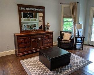 Storage ottoman dresser with mirror area rug chair