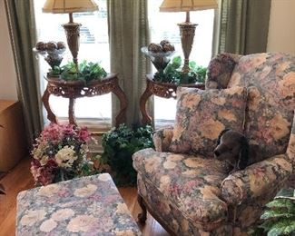 Floral chair, sofa, loveseat and ottoman