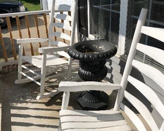 porch rocking chairs and concrete urn