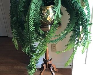 plant stand with brass pot and faux fern