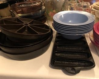 Cast Iron and lots of pie plates