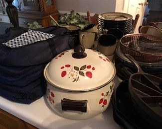 casserole dishes with carriers and a great strawberry bean pot